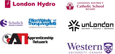 logos of london's community economic road map implementation partners